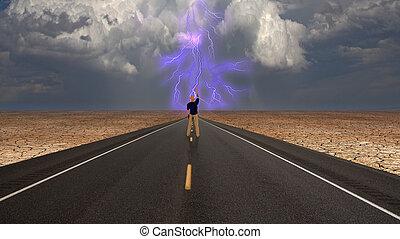 confronti, strada, tempesta, uomo