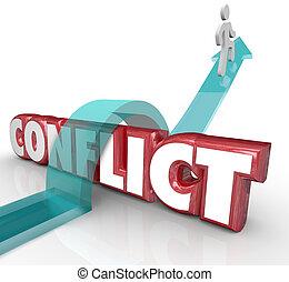 confrtonation, mot, non, disagreem, éviter, flèche,...