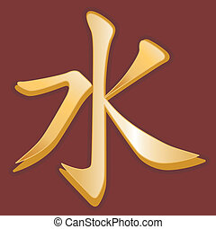 Confucianism Symbol - Golden symbol of Confucian faith on a...