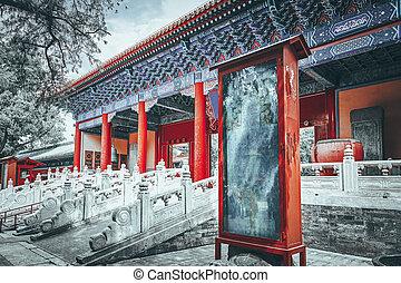 confucius, beijing, más grande, templo, segundo, china., ...
