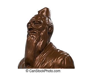 confucius, bronce, estatua