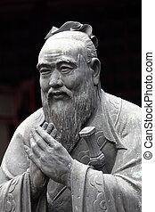 confucius, confuciano, shanghai, china, estatua, templo