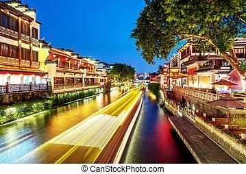 confucius, noche, templo, nanjing, vista