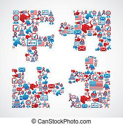 confunda pedaço, eleições, eua, ícones