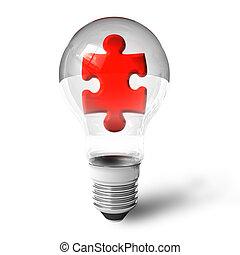 confunda pedaço, em, lightbulb