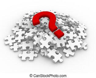 confunda pedaços, marca pergunta