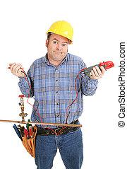 confundido, eletricista, encanamento
