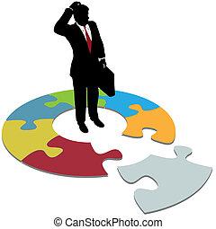 confundido, homem negócio, perguntas, ausente, solução,...