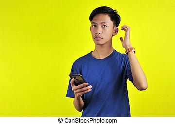 confundido, olhar, retrato, homem, smartphone