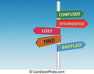 confundido, perdido, cansadas, sinal estrada