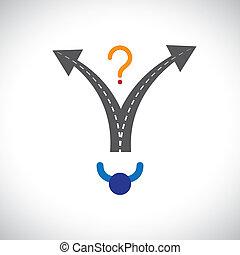 confundido, pessoa, escolha carreira, fazer decisão,...