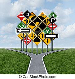 confundindo, direção, decisão