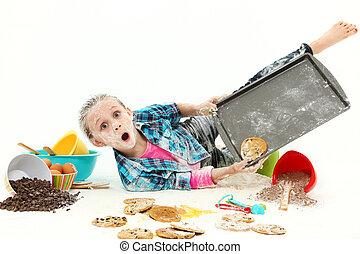 confusão, biscoitos, assando, criança
