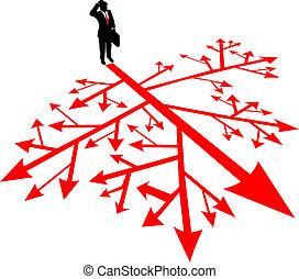 confusão, busca, homem, negócio, caminho