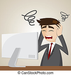 confusão, computador, caricatura, homem negócios