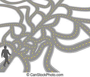 confusão, decisão, escolha, negócio, caminho