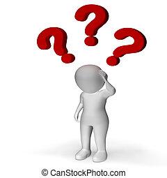 confusão, sobre, incerteza, pergunta marca, mostrando, homem