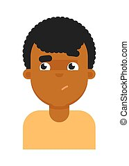 Confuse facial expression of black boy avatar