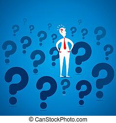 confuse men concept - men with question mark symbol...