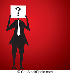 men cover his face by question mark poster stock vector