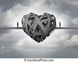 Confused about love concept as in stress in a romantic relationship or divorce issues of a married couple and human relationship requiring counseling and couples therapy.