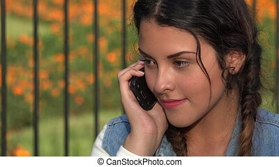 Confused Angry Teen Girl On Cell Phone