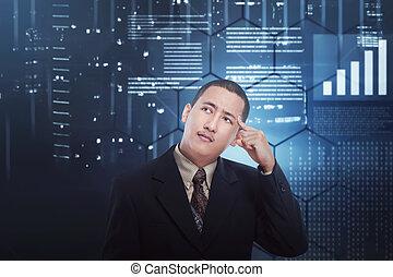 Confused asian businessman thinking something