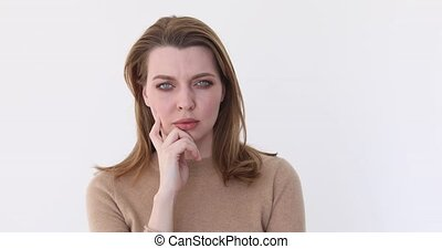 Confused beautiful Caucasian female brown hair - Confused...