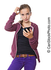confused beautiful teenage girl with mobile phone, , isolated on white.