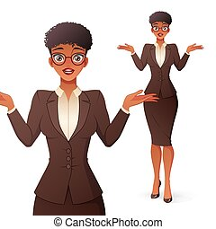 Confused black businesswoman in glasses shrugging shoulders. Isolated vector illustration.