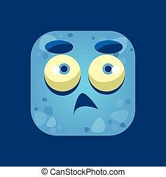 Confused Blue Monster Emoji Icon