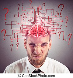 Confused brain - Brain of businessman with maze of questions