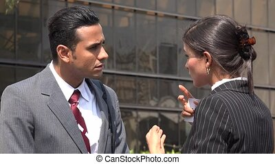 Confused Business Man  Deaf Woman Using Sign Language