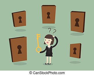 Confused - Business woman choosing the right door