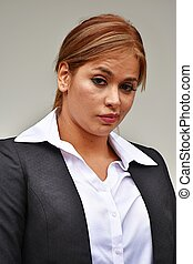 Confused Business Woman Wearing Suit