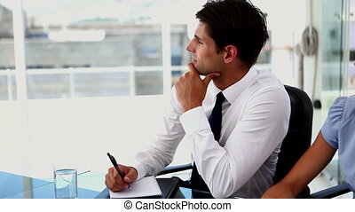 Confused businessman asking question - Confused businessman...