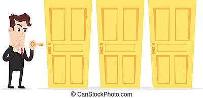 Confused businessman choosing door