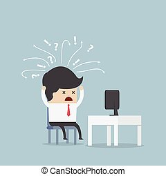 Confused businessman in front of computer, VECTOR, EPS10