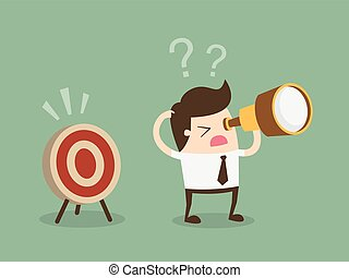 Confused businessman look for target in wrong direction. Flat design business concept cartoon illustration.