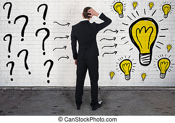 Confused Businessman Looking At Question Marks And Light Bulbs