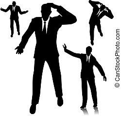 confused businessman silhouette four different businessman
