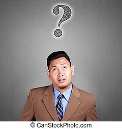 Confused Businessman with Question Mark