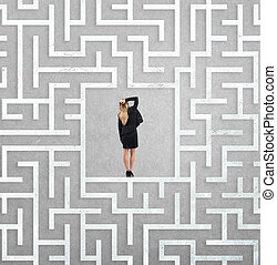 Confused businesswoman at the center of a maze