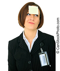 Confused Businesswoman With Blank Note