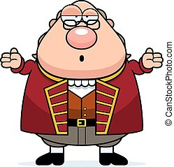 Confused Cartoon Ben Franklin - A cartoon illustration of...