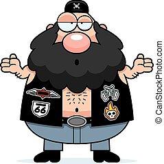 Confused Cartoon Biker - A cartoon illustration of a biker...