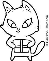confused cartoon cat with gift