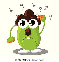 Confused cartoon character with question marks above his head - Vector Illustration