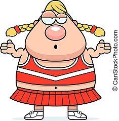 Confused Cartoon Cheerleader