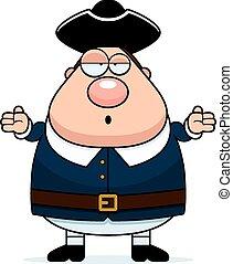 Confused Cartoon Colonial Man